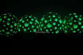 11 inch Glow in the Dark Weed Marijuana Pot Leaf Latex Balloons- 25 pack - $18.95