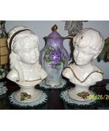 Vintage Universal Statuary Corp c/1962 Boy Girl Petestal Busts Statue Set  - $34.00