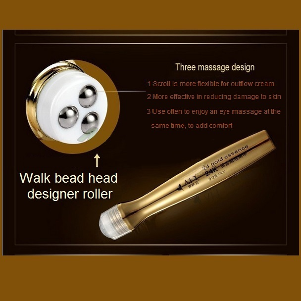 Anti-Wrinkle Anti-Aging 24K Nano Gold Essence Eye Creme Massage Roll On Pen