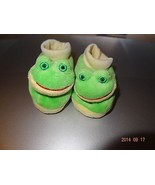 Baby Frog green slippers boy or girl, Unisex Size 0-3 months footware - $10.51