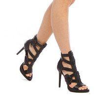NEW Leather Sandal Heel by BCBG w/ Snake-Effect Accents & Back Zip Size 7.5 - $130.00