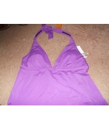 jaclyn smith purple halter top  SwimSuit tankini Sz 6 New nwt solid - $10.40