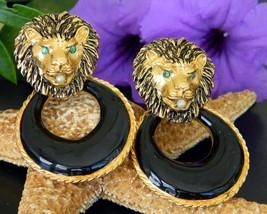 Vintage Lion Head Face Door Knocker Earrings Enamel Black Gold Clips - $34.95