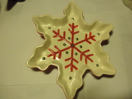 "hallmark ceramic snowflake shaped candy dish ""c... - $16.49"