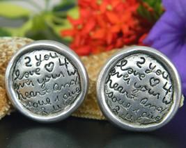 Vintage Love Earrings C Stein Round Disc Clip Heart Soul Silver Tone - $14.95