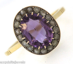 Ladies Antique Victorian 14K Yellow Gold Amethyst Seed Pearl Cocktail Ring - $404.95