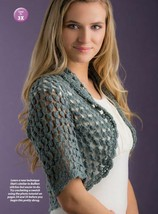 Z603 Crochet PATTERN ONLY Fan Stitch Shrug & Broomstick Lace Afghan Pattern - $7.50
