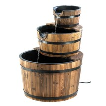 Outdoor Garden 3-Tier Half Barrel Water Fountain - $269.00