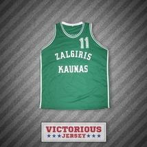 Arvydas Sabonis 11 Zalgiris Kaunas Green Basketball Jersey Stitch Sewn New - $45.99