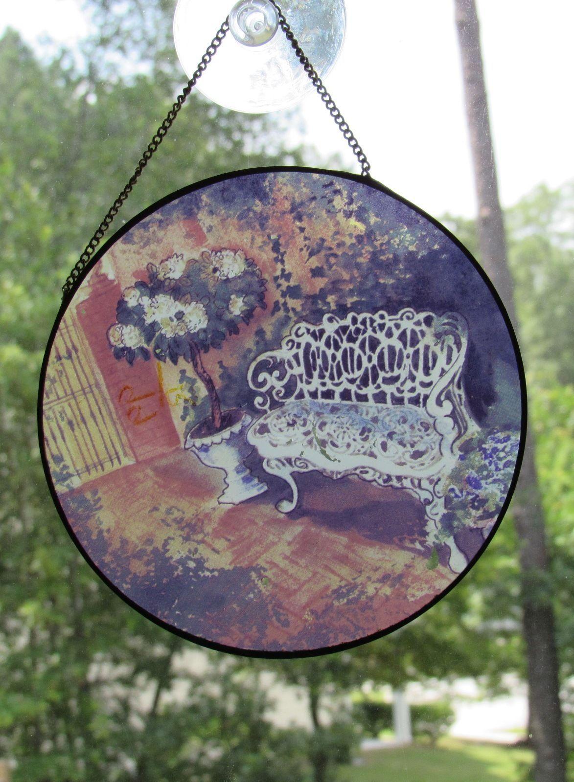 Vintage Art Glass Sun-Catcher Floral Garden - White Garden Bench Multi-Color