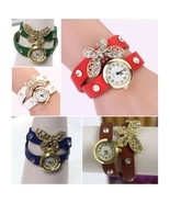 LOT OF 5 Watches HOT Fashion Woman Butterfly Ceramic Dial Band - $19.98