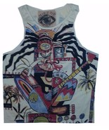 Men Tank Top Sleeveless Cotton Guitar Hippie Picasso Rasta Reggae Ganja M MIRROR - $13.85