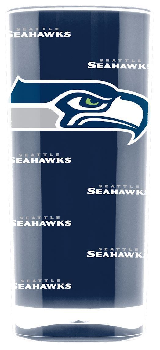 SEATTLE SEAHAWKS CRYSTAL CLEAR SQUARE INSULATED TUMBLER 16 OZ.  NFL FOOTBALL #1