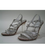 Chanel Silver Swarovski Crystal T-Strap Open Sandal Clear Lucite Heels S... - $766.29