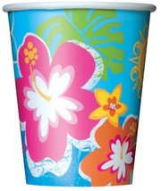 Hula Beach Party 8 9 oz Hot Cold Paper Cups Hibiscus Flower - $2.84
