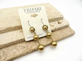 Retro Trifari Pearesence Gold Faux Pearl Bead Dangle Earrings Q35 - $16.99