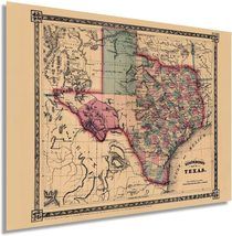 1866 Texas Map Poster - Vintage Texas Map - Texas Map Wall Art - Old Texas Map - - $34.99+