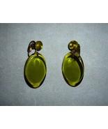 Avocado Lucite Earrings C1970s - $5.00