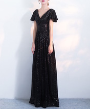 BLACK Sleeved High Waist Maxi Sequin Dress Floor Length Sequin Wedding Dresses image 6