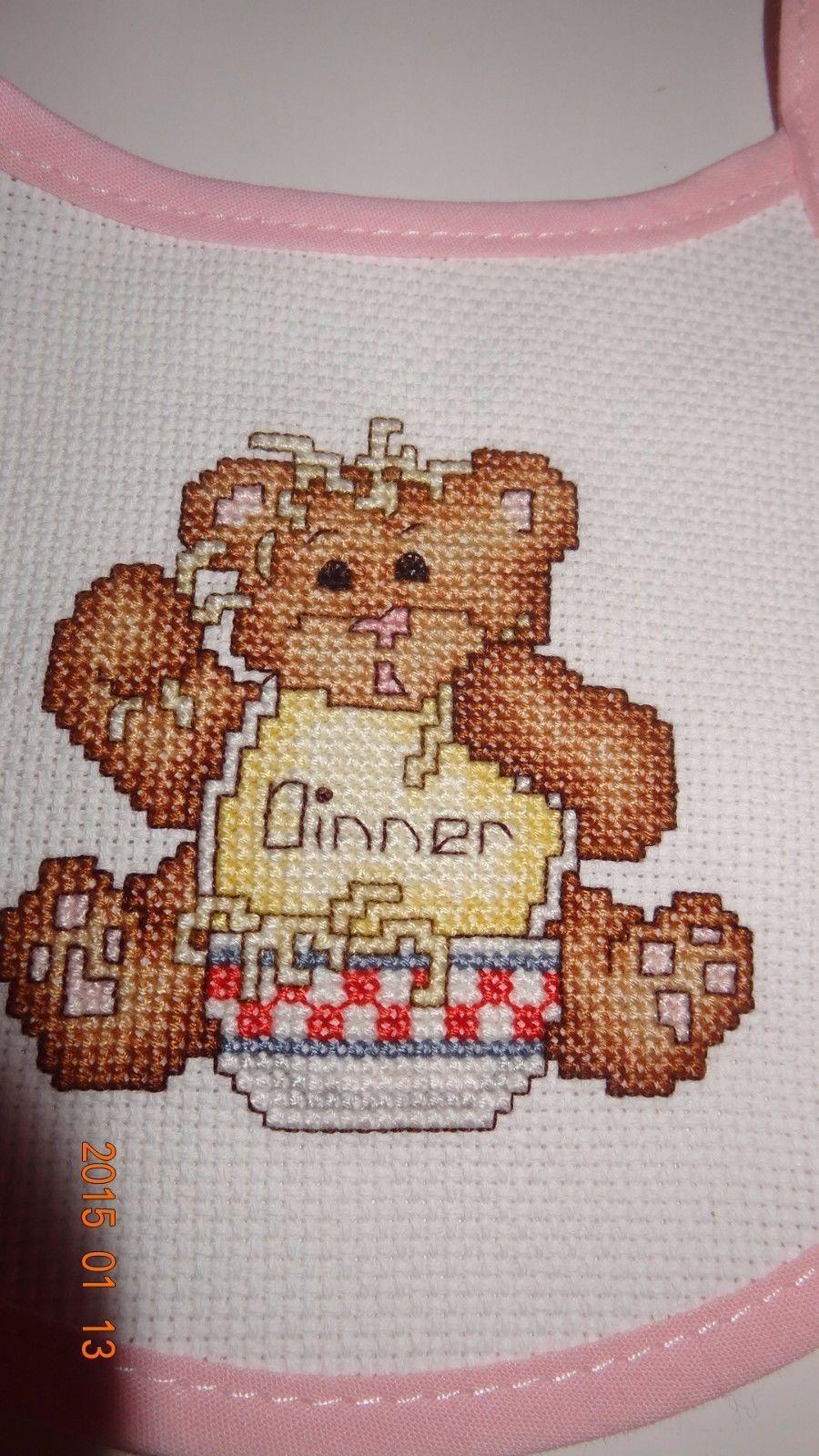 Baby Girl's Bib Teddy Bear messy eater Finished Cross Stitch Pink