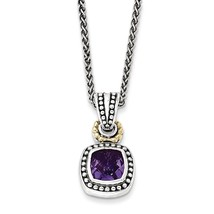"Sterling Silver with 14k Gold with Antiqued Amethyst Necklace -18"" (18in... - $159.00"