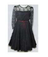 1960s Black Chantilly lace cocktail party dress large size Bust 40 full ... - $55.00