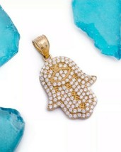 14K Yellow White Rose Gold Hamsa Hand Created Diamond Evil Eye Pendant N... - $136.57