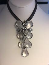 Vintage Unsigned Schreiner Lucite Rhinestone Brooch Pin Pendant Orig Chain - $386.86