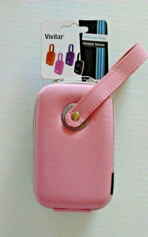 Vivitar Camera Case Universal Digital Hard Shell Wrislet Series Pink Gray Zipper - $12.99