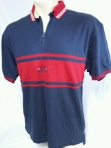 VTG Tommy Hilfiger Nautical Equipment Polo Shirt Zip Color Block Mens Si... - $27.71