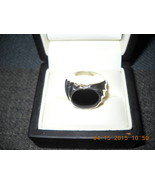 MENS SIZE 10 1/2 O.C.TANNER STERLING SILVER / ROUND BLACK ONXY SIZE 10.5  - $65.00
