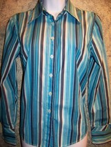 TOMMY HILFIGER turquoise blue vertical stripe button down shirt blouse c... - $33.66