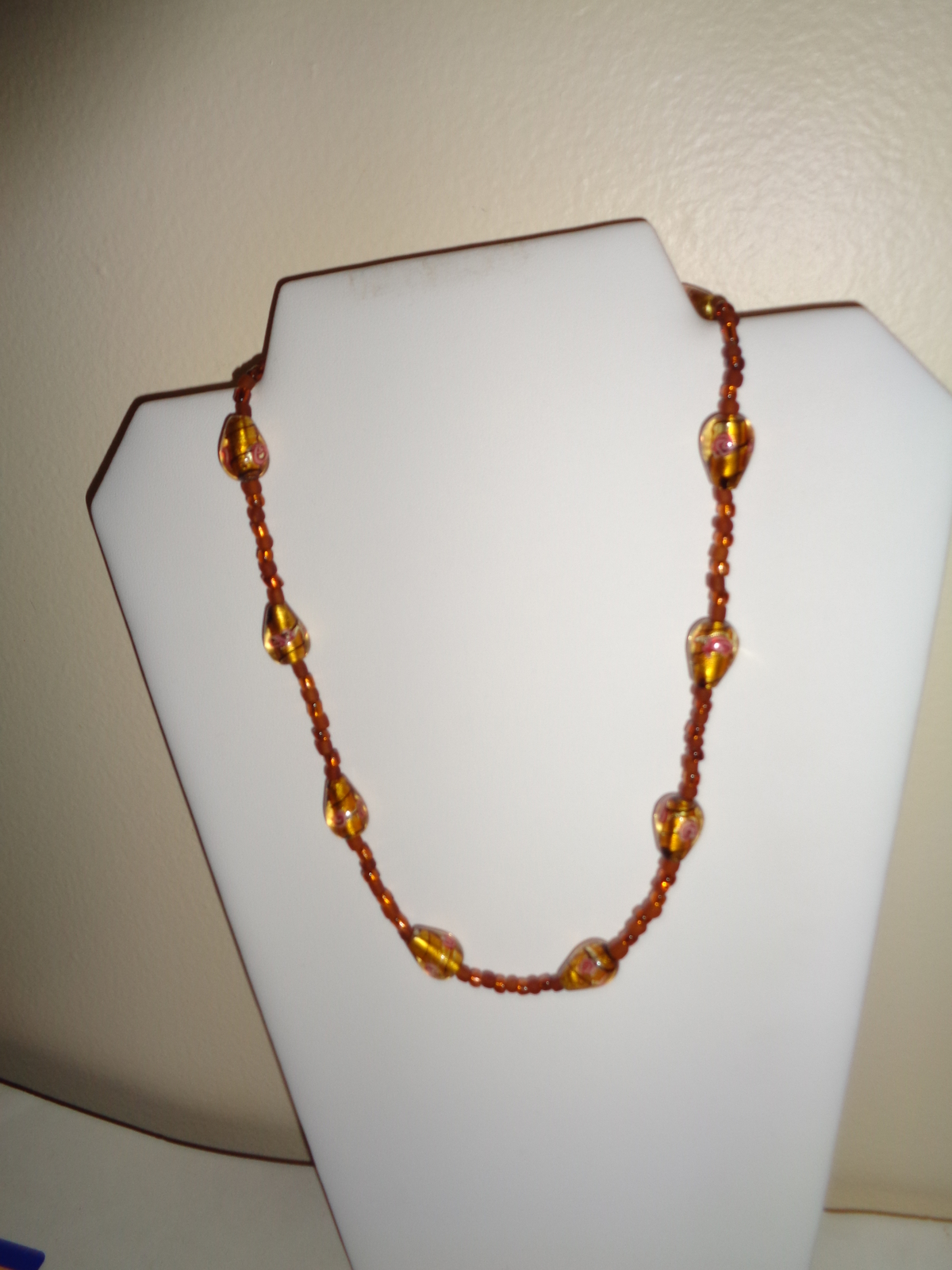 Handmade Gold Glass Beaded Necklace ~SALE~