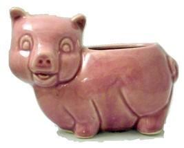 Vintage Brush McCoy pink pottery pig planter un... - $18.00