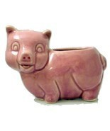 Vintage Brush McCoy pink pottery pig planter unmarked - $22.78 CAD