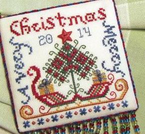 Santa's Sleigh ornament FULL EVENWEAVE KIT cross stitch chart Tempting Tangles