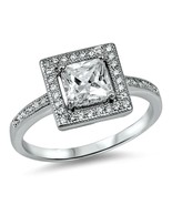 Sterling Silver ring size 7 CZ Princess Cut Engagement Halo Wedding New v74 - $16.43