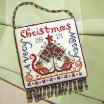 Santa's Sleigh ornament FULL AIDA KIT cross stitch chart Tempting Tangles - $23.60