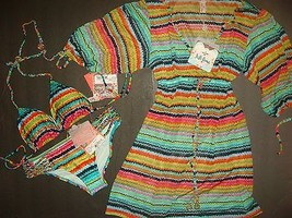 NWT Luli Fama BIKINI M/XS+S cover up/dress Hola Verano chevron multi-col... - $197.99