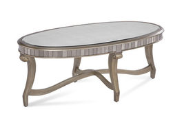 Bassett Mirror 2900-140EC Celine Oval Cocktail Table in Real Silver Leaf... - $690.00
