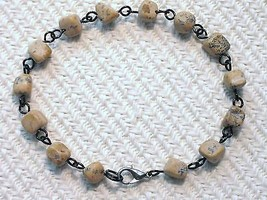 Beige Black Lace Natural Stone Nuggets Beaded B... - $3.50