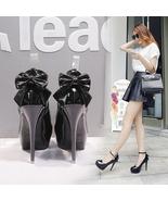 83H025 elegant high-heeled pump with bowtie end,US Size 4-8.5, black - $58.80