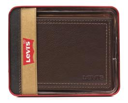New Levi's Men's Premium Leather Credit Card Id Wallet Billfold Brown 31LV2402 image 4