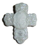 Childrens Ceramic Christian Cross Pin Jewelry With Pearlized Front - $10.00