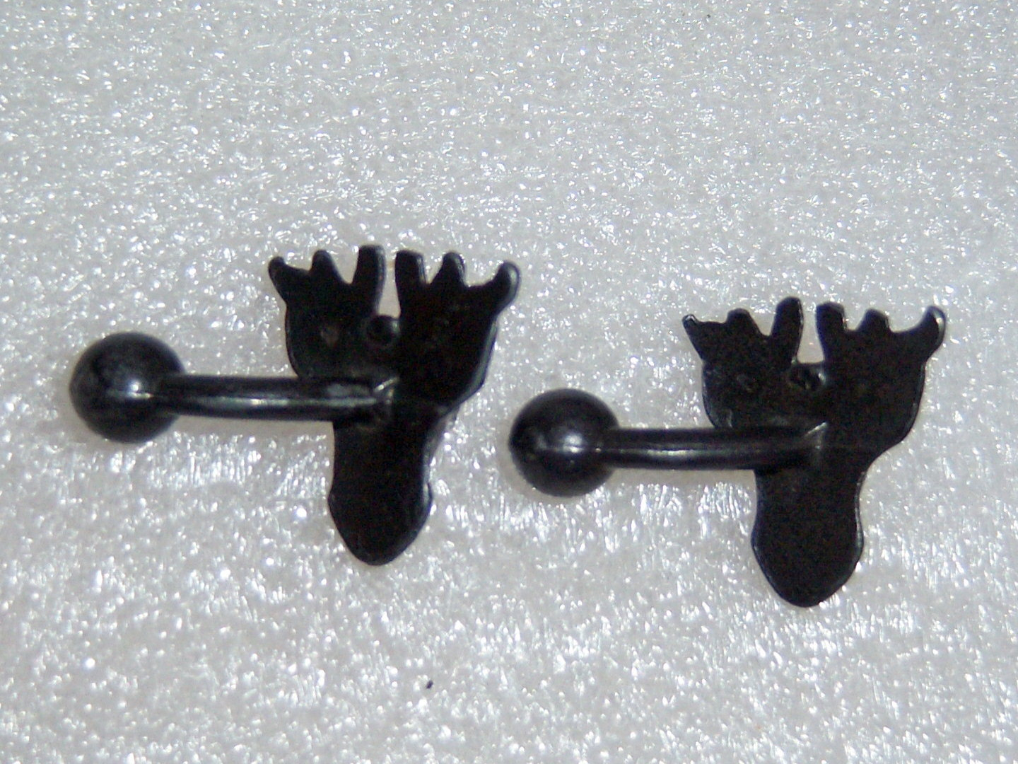 Antique Black Deer Stag Elk Cuff Links. Deer Elk Stag Hunting Antique Cufflinks.