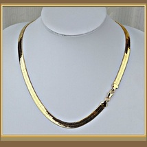 "Extra Wide 10mm Herringbone 24K Gold Plated 19"" Unisex Infinity Chain Necklace  image 3"