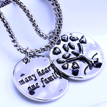 925 silver family tree pendant necklace many he... - $16.99