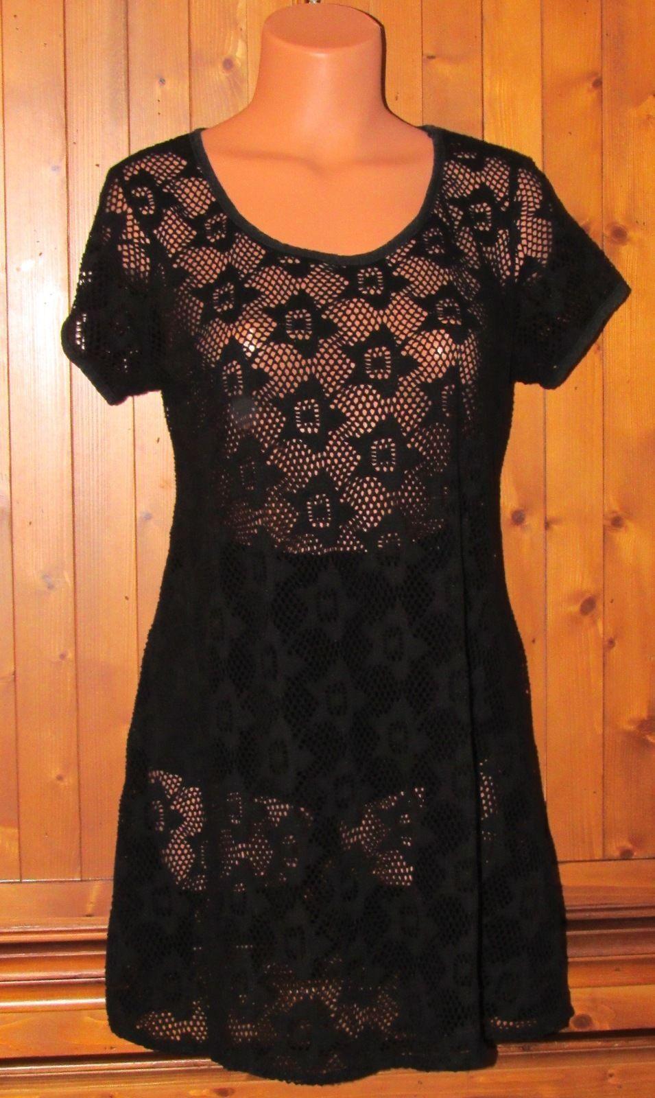 Dotti's Women's Black Crochet Lace Insert Swimwear Cover-Up/Dress Size: M