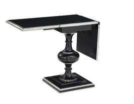 Bassett Mirror A2272EC Covington Drop Leaf End Table in Black/Silverleaf - $690.00