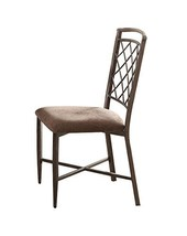 Acme Aldric Side Chair (Set-2) - - Fabric & Antique - $427.19